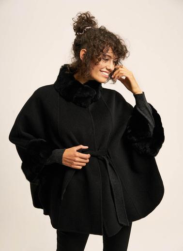 Silk and Cashmere Pelerin Siyah